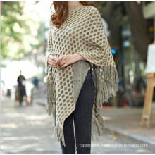 Wholesale 2017 Latest New Fashion Knit Acrylic Shiny Mexican Poncho