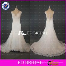 ED Bridal Cap Sleeve See Through Back Mermaid Lace Applioques Bead Work Wedding Dress 2017