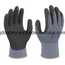 Guante de trabajo de nylon con espuma superfino nitrilo sumergir (N1567)