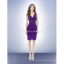 Sexy lila Hülle Brautjungfer Kleid mit grauen Schärpe Strand Stil 2014 V-Ausschnitt Chiffon kurze prom Party Kleid mit Rüschen NB0721