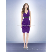 Сексуальная фиолетовый платье невесты платье с серым поясом пляж Стиль 2014 V-образным вырезом шифон короткие Пром платье с оборками NB0721