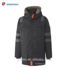 Veste de sécurité noire chaude hiver, Parka réfléchissante imperméable Hi Vis