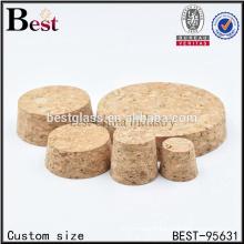 custom size cosmetic wooden bottle cork stoppers, small glass bottle wooden cork stopper