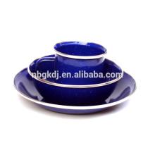 Hochwertige Emaille Becher / Teller / Schüssel-Sets mit glänzend blauen Farbe