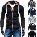 Мода Мужчины Slim Fit Свитер Повседневная молния с капюшоном флисовой куртки