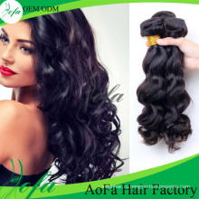 Лучшее качество 7А необработанные объемная волна лента человеческих волос уток