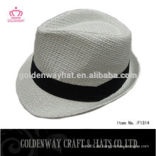 Günstige White Fedora Hut mit Black Band