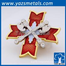 Custom red translucent painted cross hatchet laple pins