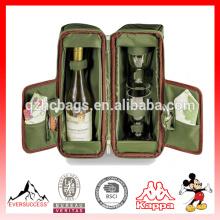 Nuevo bolso de lona vendedor caliente del vino La bolsa de asas del vino para la comida campestre (ES-Z336)