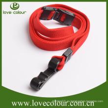 Personalizado no hay pedido mínimo cordón de color rojo de poliéster con ajuste de plástico
