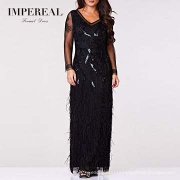 V Neckline Long Sleeve Maxi Sequin Lady Woven Singer Feather Evening Dress