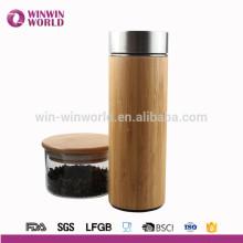 Bouteille à vide de bouteille d'eau en bambou naturel inoxidable chaud de Sellling