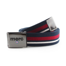 Stripe webbing with zinc alloy buckle belt