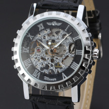 fashion ruby watch with skeleton design wholesale leather band watch