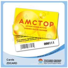 Cartões de associação de código de barras de plástico transparente