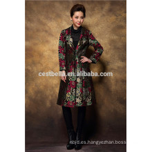 Abrigo bordado de invierno de moda para mujeres y señoras abrigo largo