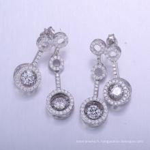 bijoux en laiton style dubaï définit boucles d'oreilles avec zircone cubique 925 pour femme