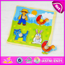 2015 Educational Cheap Colorful Puzzle Toy for Kids, Children Wooden Jigsaw Puzzle Toy, Wooden Toy Puzzle Game with Knobs W14m075