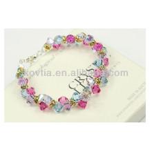 Charmants bracelets en cristal multicolore diamantés pour filles