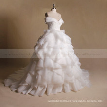 Asombroso A-Line Cap Mangas Lace Applique Beads Corpiño Ruffled Organza Ball Gown Vestido de Novia
