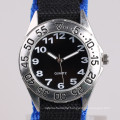 quartz stainless steel back watch nylon watch for student