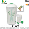 Ensalada plástica al por mayor para ir taza de la coctelera con la bifurcación (HDP-2018)