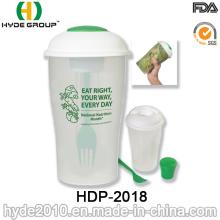 Salade en plastique en gros pour aller la tasse de Shaker avec la fourchette (HDP-2018)