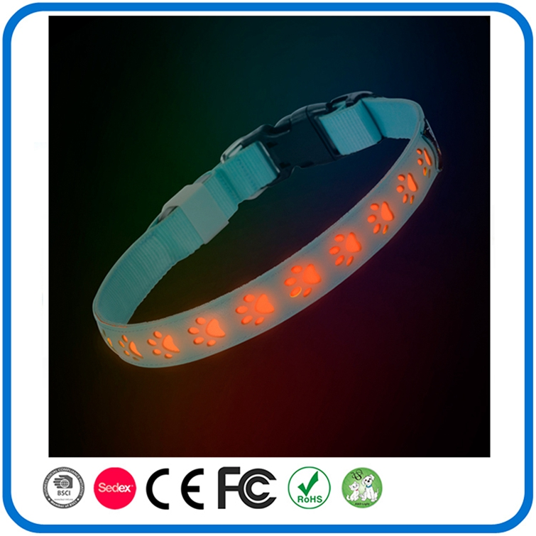 Couro de Nylon Levou Light Up Dog Collar Colar