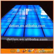 plancher en bois / plate-forme de verre lumineuse