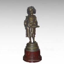 Niños figura estatua jugador de música chica escultura de bronce TPE-913