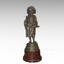 Statue des enfants Statue Music Player Girl Bronze Sculpture TPE-913