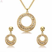 La mode ronde en cristal en acier inoxydable bijoux boucle d'oreille or bijoux ensembles pour les femmes
