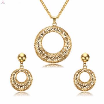 Mode Runde Kristall Edelstahl Schmuck Ohrring Gold Schmuck Sets für Frauen