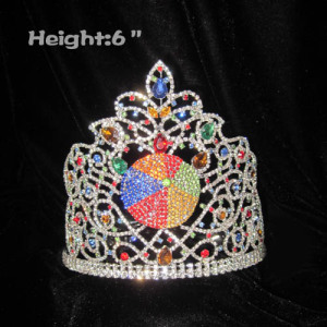 Crystal Beach Ball Summer Crowns With Colored Diamonds