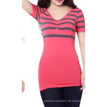 Nahtlose V-Ausschnitt elastischer Streifen Kurzarm T-shirt