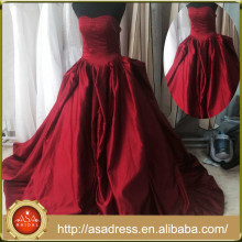AR-004 Romantic Rose Red Ball Gown Sweetheart Ruffle Formal Dress Evening Dress