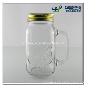 650ml Ice Cold Drink Glass Mason Jar with Handle and Lid