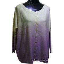 Alta calidad 55% de seda 45% cashmere mezclado ombre rebeca mujeres, suéter de la rebeca