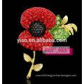 stunning modern red flower crystal brooch