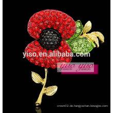 Atemberaubende moderne rote Blume Kristall Brosche