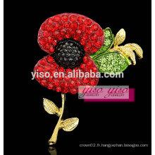 Magnifique broche moderne en cristal de fleurs rouges