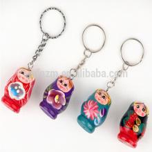 Gros pas cher mini matryoshka en bois poupée porte-clés