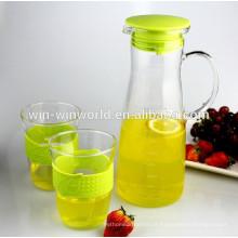 Vidro claro de 1 litro que bebe o jarro da água fria ou quente com tampa