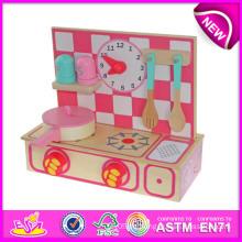 Schönes Kinderküchen-Satz-Spielzeug, nette hölzerne Küche stellt Spielzeug für Kinder, reizendes hölzernes Spielzeug-Küchen-Spiel-Satz für Baby W10c088 ein