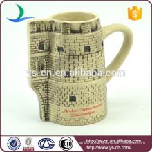 YScc0032-1 Regalo de Navidad Castillo de cerámica en relieve Copa