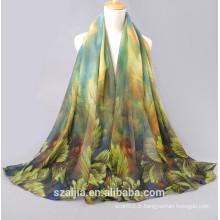 Nouvelle écharpe / châle de plage en soie imprimée à la mode