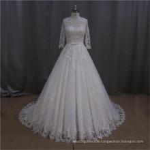 ivory lace v-neck muslim dress wedding gowns