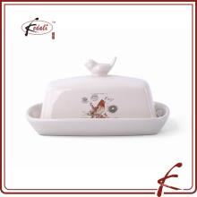 Patrón de calcomanías de piedra ware plato de mantequilla Aves en tapa decorativa
