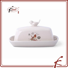 decal pattern stone ware butter dish Bird on lid decorative