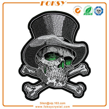 Skull with gentle hat applique patches
